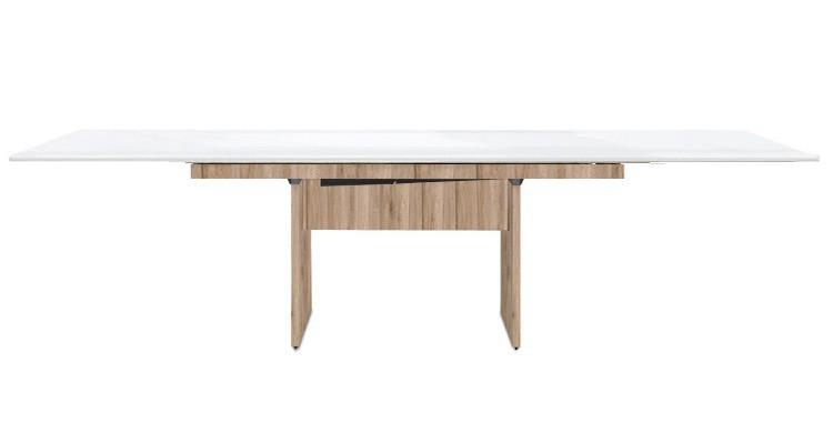 Jídelní stůl Deck 220 cm, rozkládací  (bílá lesk/kostra panely pískový dub)