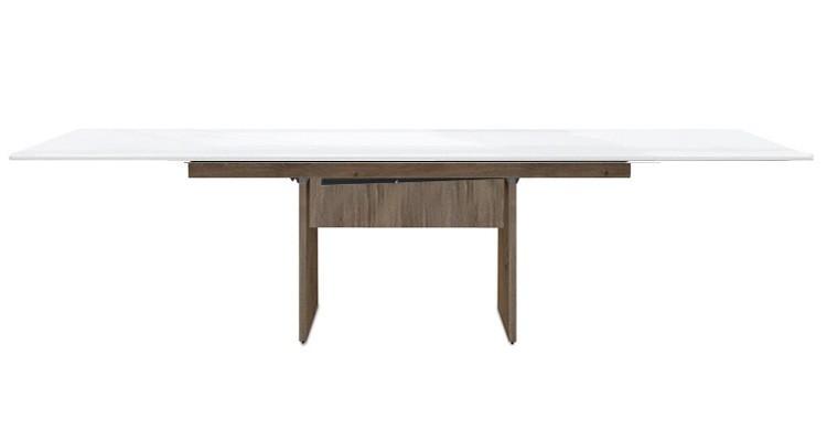 Jídelní stůl Deck 220 cm, rozkládací  (bílá lesk/kostra panely tmavý dub)