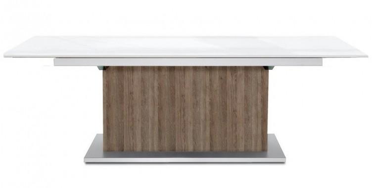 Jídelní stůl Deck 220 cm, rozkládací  (bílá lesk/kostra postavec tmavý dub)