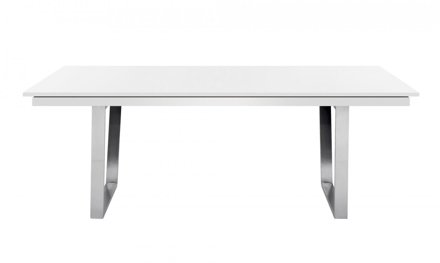 Jídelní stůl Deck 220 cm, rozkládací  (deska bílá/kostra ocel)