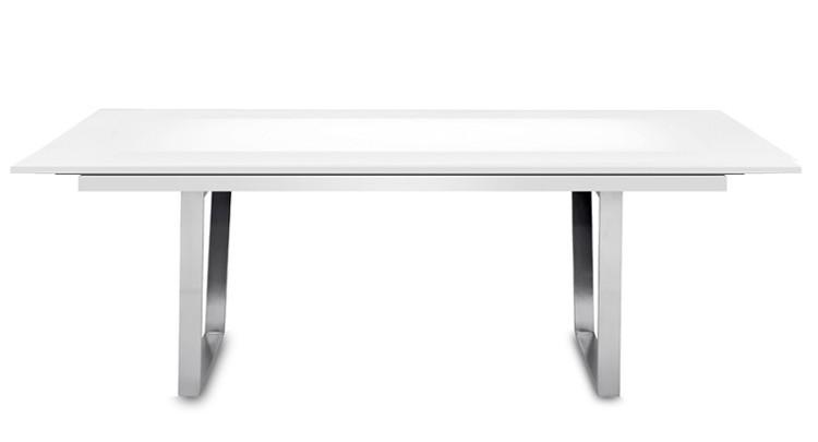 Jídelní stůl Deck 220 cm, rozkládací  (deska bílá lesk/kostra ocel)
