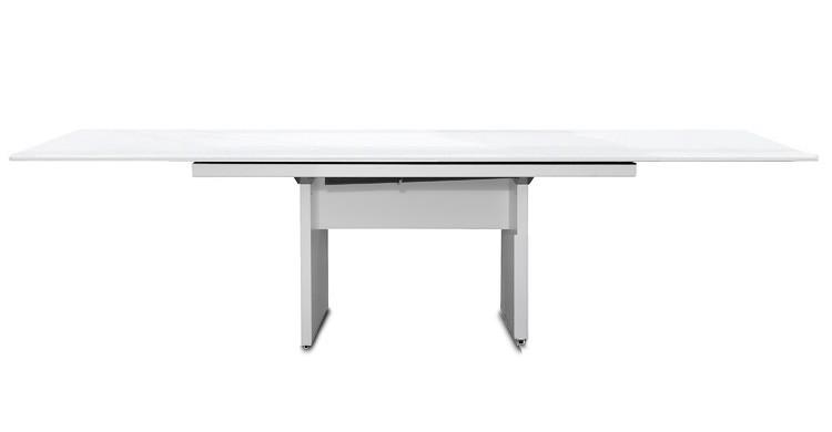 Jídelní stůl Deck 220 cm, rozkládací  (deska bílá lesk/kostra panely bílá)