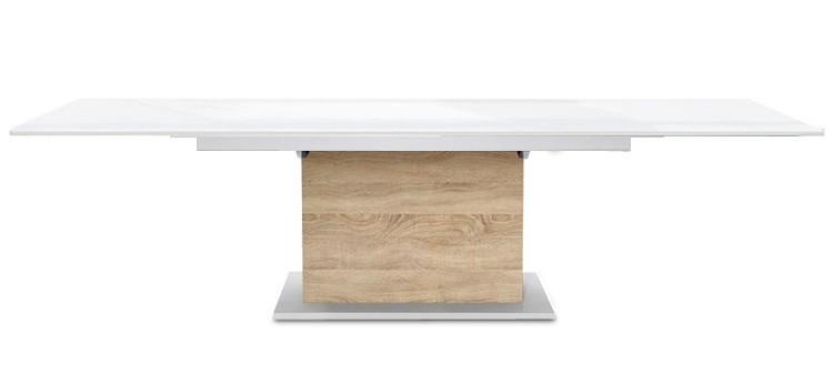 Jídelní stůl Deck 220 cm, rozkládací  (deska bílá lesk/kostra postavec dub)