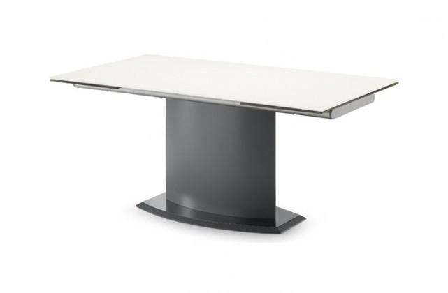 Jídelní stůl Discovery - 160 cm (kostra antracit/deska leptané sklo šedé)