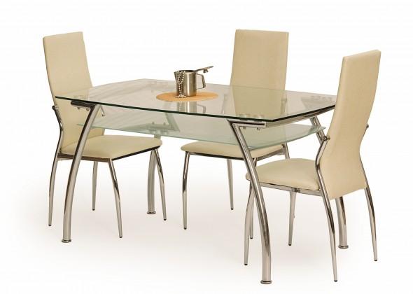 Jídelní stůl Edgar (sklo - transparentní / ocel)