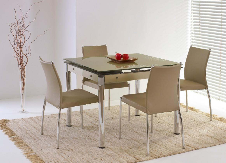 Jídelní stůl Elton (sklo - béžová / ocel)