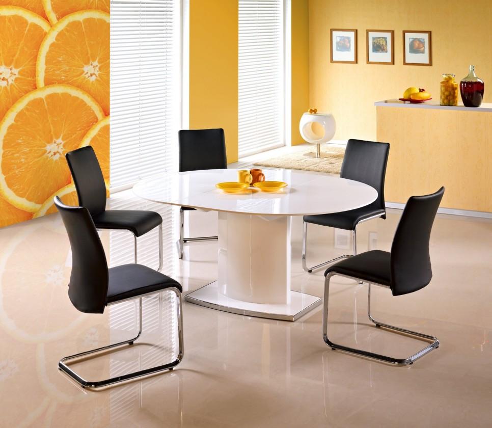 Jídelní stůl Federico - Jídelní stůl 120-160x120 cm (bílý lak, stříbrná)