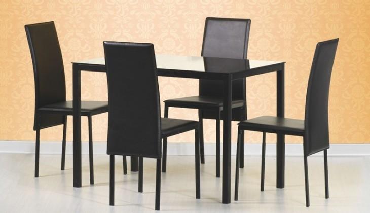 Jídelní stůl Fidel (sklo / černá)