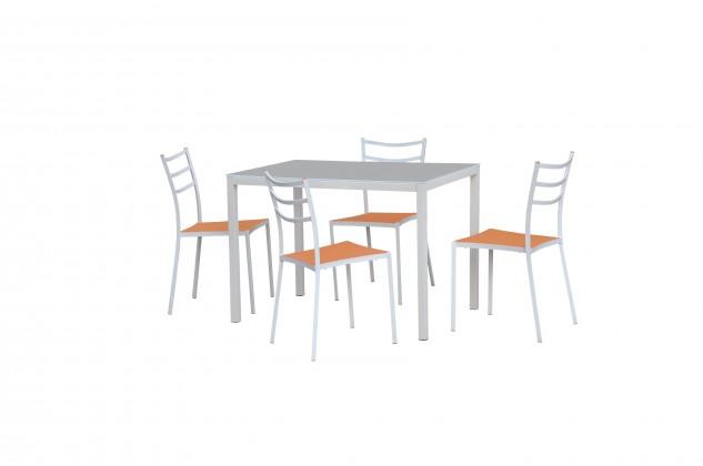 Jídelní stůl Fidel (sklo - mléčná / bílá)
