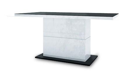 Jídelní stůl Fin (deska černá/podstavec černobílý)