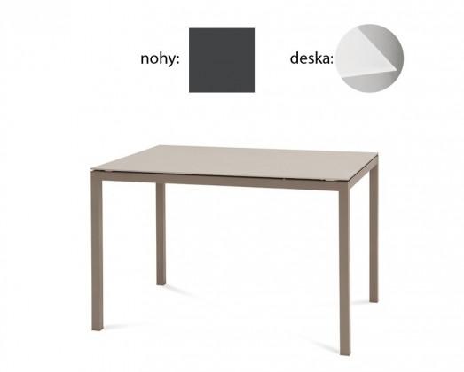 Jídelní stůl Full - Jídelní stůl (lak antracit matný, extra bílé sklo)