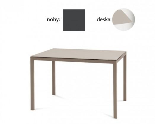 Jídelní stůl Full - Jídelní stůl (lak antracit matný, leptané sklo béžové)