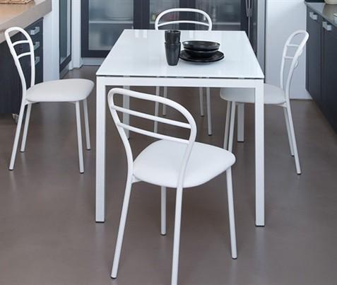 Jídelní stůl Full - Jídelní stůl (lak bílý matný, extra bílé sklo)