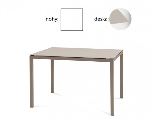 Jídelní stůl Full - Jídelní stůl (lak bílý matný, leptané sklo béžové)