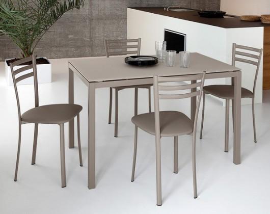 Jídelní stůl Full - Jídelní stůl (lak taupe matný, leptané sklo béžové)