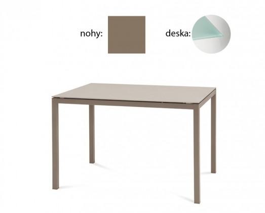 Jídelní stůl Full - Jídelní stůl (lak taupe matný, tištěné sklo)
