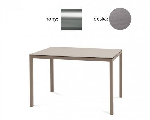 Jídelní stůl Full - Jídelní stůl (saténový hliník, antický dub)