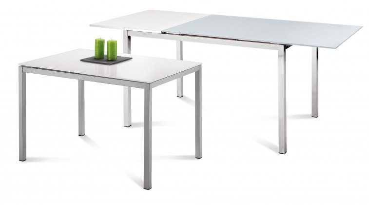 Jídelní stůl Full - Jídelní stůl (saténový hliník, bílá matná)