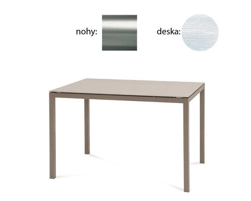 Jídelní stůl Full - Jídelní stůl (saténový hliník, bílá struktura)