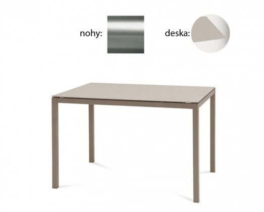 Jídelní stůl Full - Jídelní stůl (saténový hliník, leptané sklo béžové)