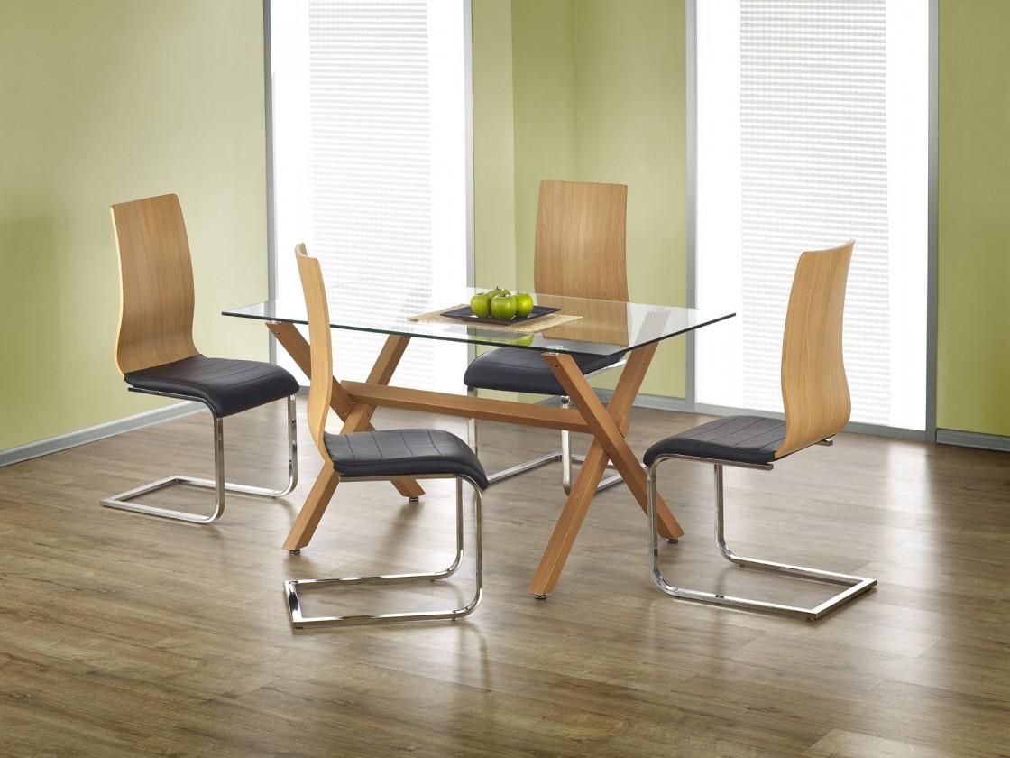 Jídelní stůl Gartner - Jídelní stůl 140x80 cm (olše, čiré sklo)