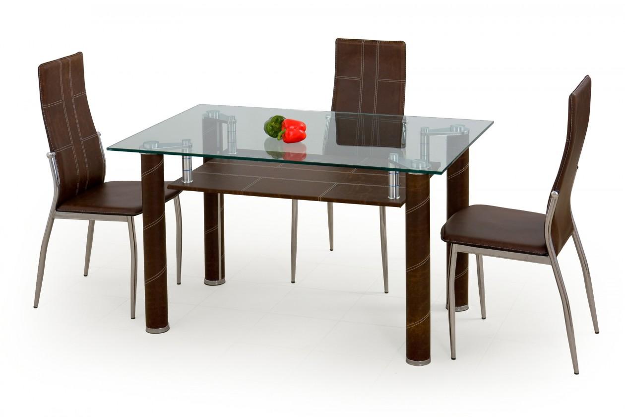 Jídelní stůl Gavin (sklo - transparentní / hnědá)