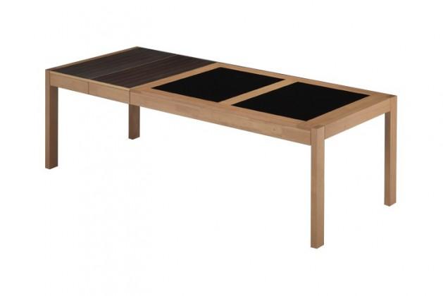 Jídelní stůl GAVINO(kaučukovník / sklo, moření buk)