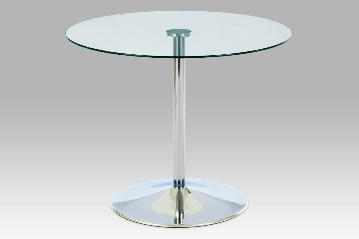 Jídelní stůl GDT - Jídelní stůl, čiré sklo/chrom (90x75x90 cm)