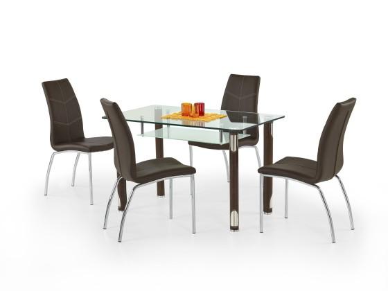 Jídelní stůl Gotard (sklo - transparentní / hnědá,ocel)