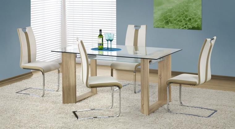 Jídelní stůl Herbert (sklo - transparentní / dub sonoma)