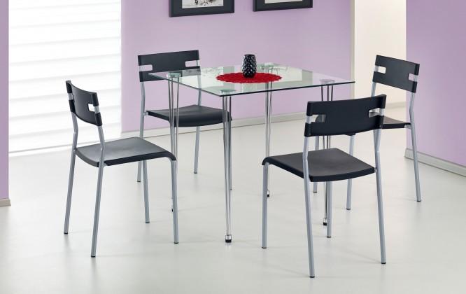 Jídelní stůl Jasper-čtverec (sklo - transparentní / ocel)