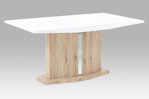 Jídelní stůl Jídelní stůl AT (vysoký lesk bílý/dub san remo)