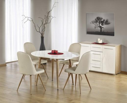 Jídelní stůl Jídelní stůl Edward - 120-200x100 cm (bílý lak/dub medový)