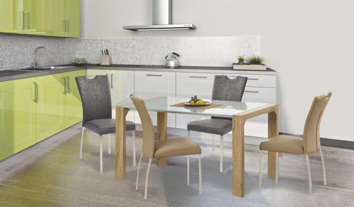 Jídelní stůl Kevin  - jídelní stůl (sklo - bílá/dub sonoma)
