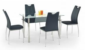 Jídelní stůl Lester-120 (sklo transparentní a černé/nerez)