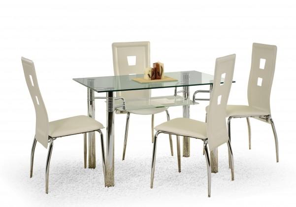 Jídelní stůl Levis (sklo - transparentní / ocel)