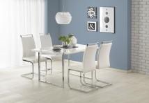 Jídelní stůl Lion - 140x80x75 cm (bílá/stříbrná)