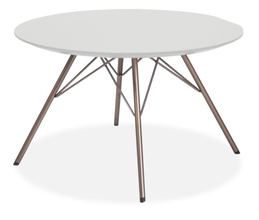 Jídelní stůl LOLA 9306-001+PORGY 9316-888 (bílá,bronz)