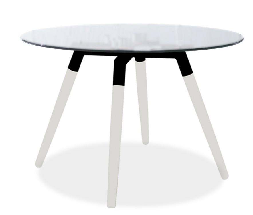 Jídelní stůl LOLA 9307-090+FIDO 9315-101 (čiré sklo,bílá,černá)