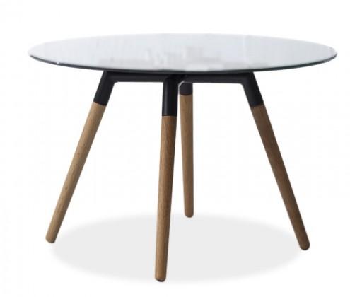 Jídelní stůl LOLA 9307-090+FIDO 9315-154 (čiré sklo,černá,dub)