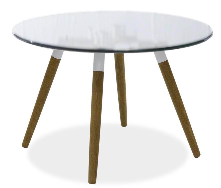 Jídelní stůl LOLA 9307-090+FIDO 9315-454 (čiré sklo,bílá,dub)