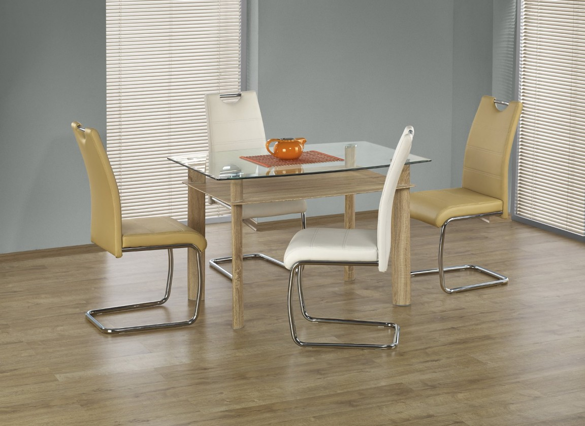 Jídelní stůl Murano - Jídelní stůl 120x80 cm (dub sonoma, čiré sklo)