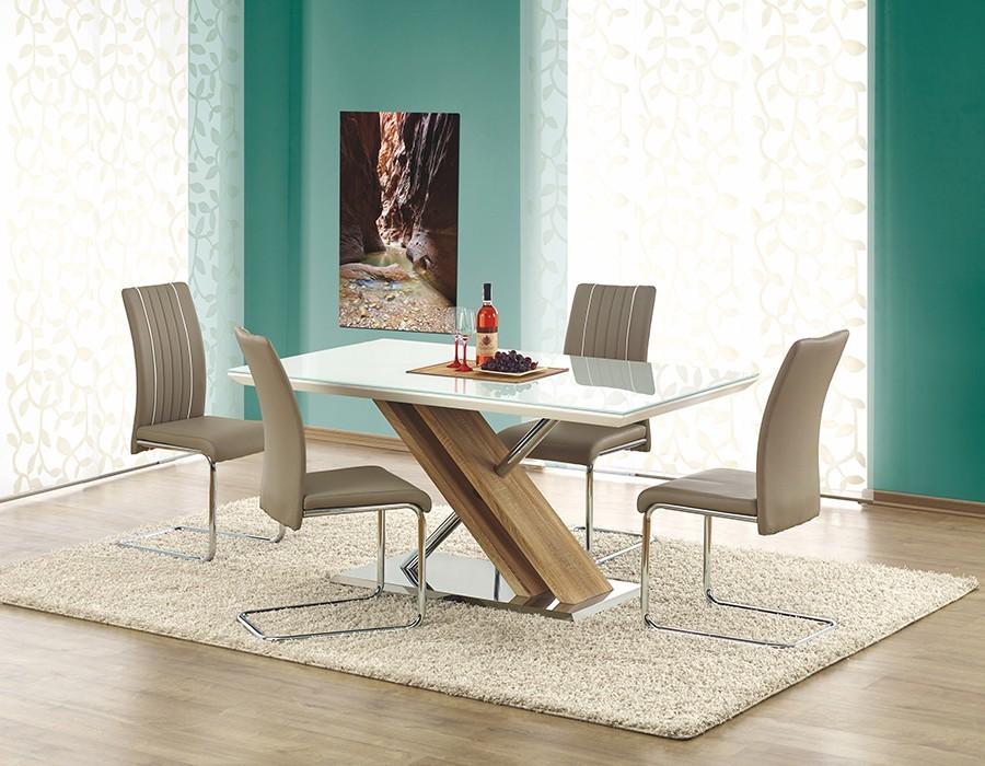 Jídelní stůl Nexus  (sklo-extra bílá,dub sonoma)