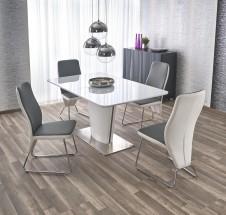 Jídelní stůl Platon - rozkládací , 160-200x90x76 (bílá/stříbrná)
