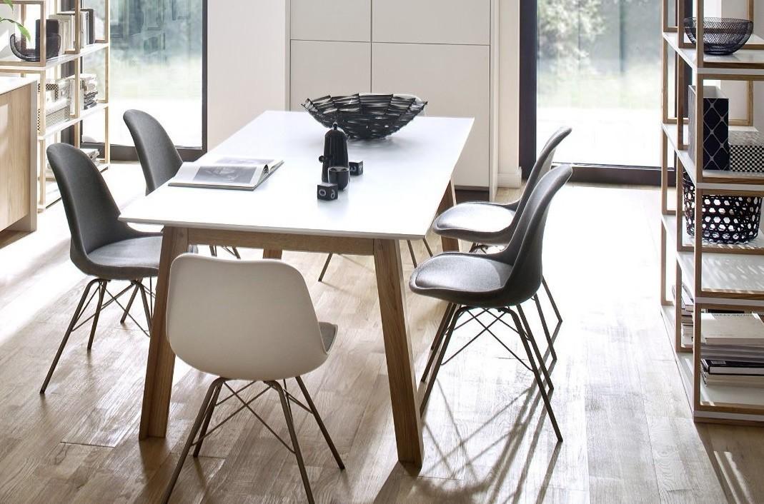 Jídelní stůl Profil (dub masiv, bílé MDF)