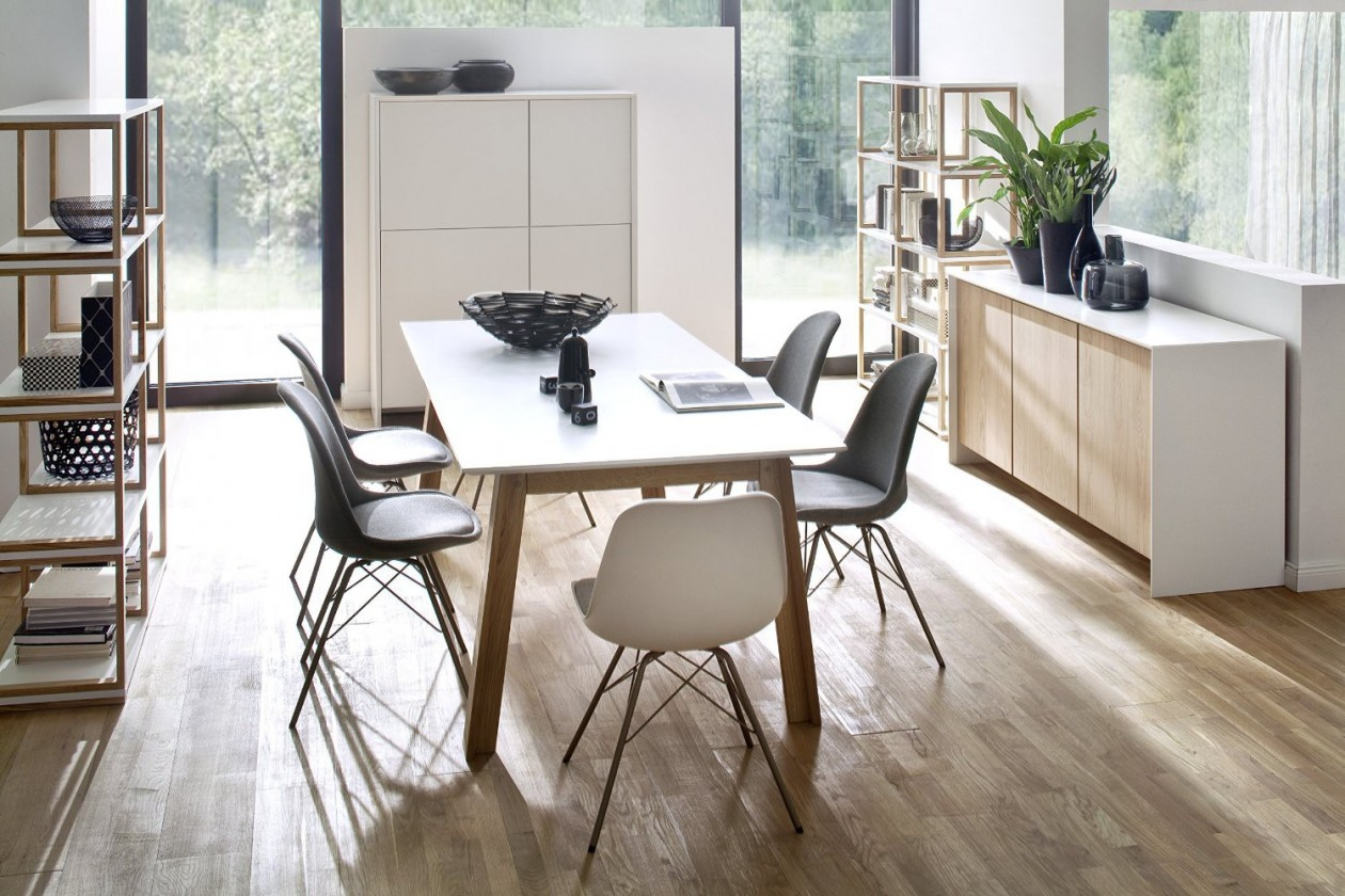 Jídelní stůl Profil (dub masiv, rám z tvrdého dřeva, bílé MDF)