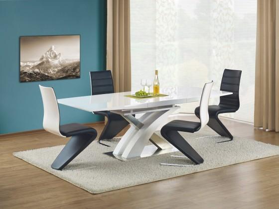 Jídelní stůl Sandor - Jídelní stůl 160-220x90 cm (bílý lak, stříbrná)