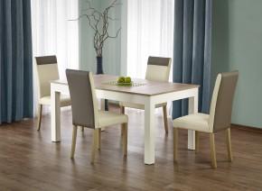 Jídelní stůl Seweryn rozkládací 160-300x90 cm (dub sonoma/bílá)