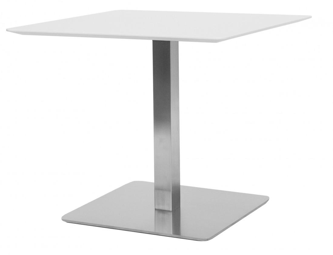Jídelní stůl T-BAR - 75/70/70 (nerez, bílé MDF)
