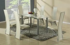 Jídelní stůl Talon (bezbarvý s béžovým pásem) - II. jakost
